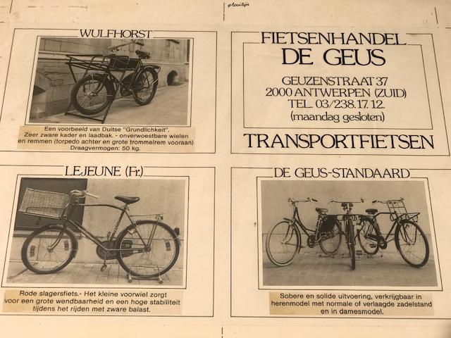 Oude advertentie Fietsenwinkel De Geus Antwerpen
